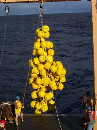 Glass balls attached to the buoy