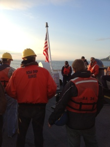 The FOO, Meghan McGovern, leads a morning safety meeting prior to sending out the launches.