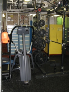 "The ship even has a small ""gym"" where the crew can work out while out at sea."