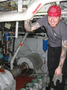 GVA Josh Parker helps to show me around the engine room.