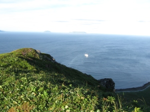 The ship in the distance from the top of the ridge on Chernabura Island.