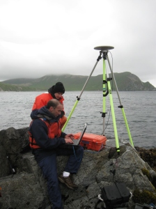 ENS Bill Carrier and HST Brandy Geiger work to set-up part of the horizontal control station on Bird Island.