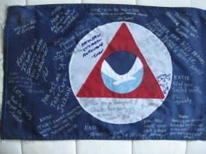 The crew signed this flag and gave it to me as a departing gift.