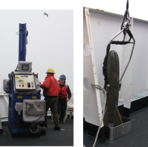 On the left you can see the machine that is used to drag the MVP in the water behind the ship while we are surveying.  On the right, the MVP is ready to go in the water.