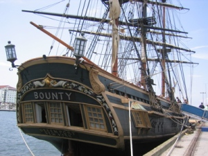 THE BOUNTY: A replica of The Bounty, an 18th Century British Naval Research Vessel.