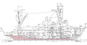 A diagram of the 17 fuel tanks on the Rainier.  Notice how they are low as they help with the stability of the ship.