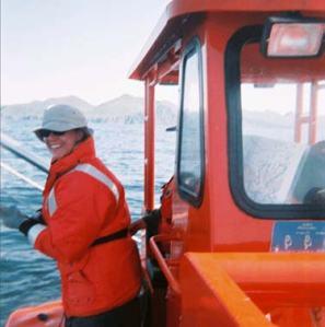 Debbie Stringham pulling lines for bottom sampling