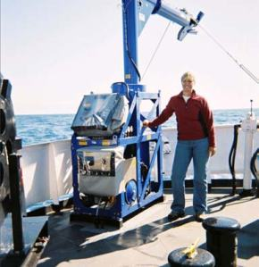 """FISH"" winch. Instrument attached collects sound velocity data."