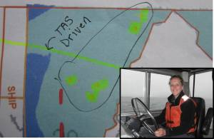 "You can see the highlighted area was clearly marked on the boat sheet as ""TAS Driven"" to indicate to the hydrographer why the lines weren't exactly straight!"