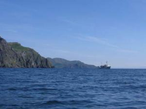 The NOAA ship RAINIER in the distance in East Bight, Nagai Island, AK