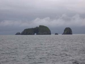 Seal Rocks are a group of islets.  The largest stands at 287 feet and has an arch through it.