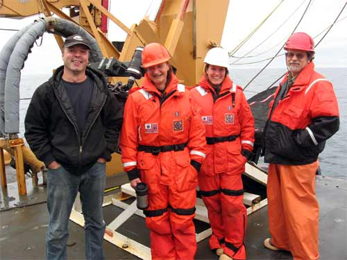 From left to right: Alexei, Nicola, Elizabeth, and Ron, ready to deploy the MOCNESS.