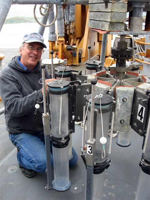 This is Chris Moser, we have set up the multi-corer and it is ready to take a bite of Bering Sea Shelf Sediment.