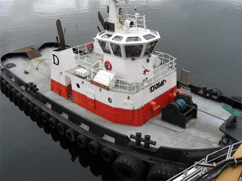 Local tug used to get the Healy from the dock.