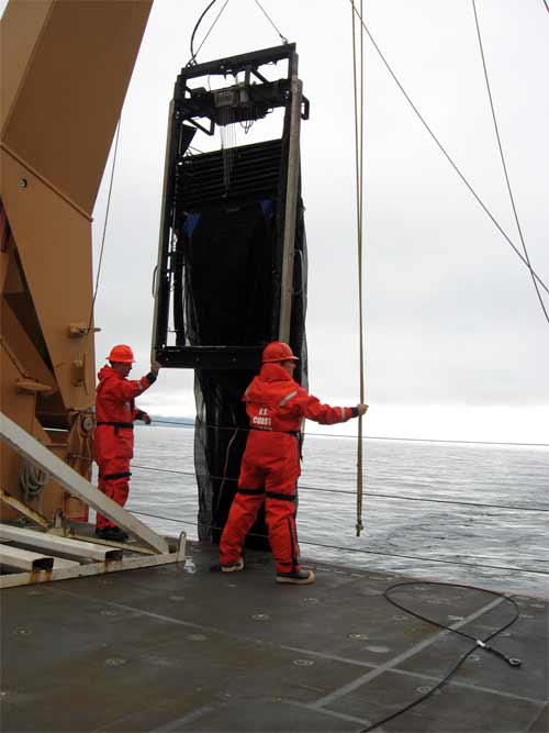 Alexie and team working on deployment of the Mocness.