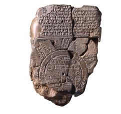 This is one of the earliest known maps.  It is a clay tablet from Babylonia. http://www.britishmuseum.org/explore/highlights/highlight_objects/me/m/map_of_the_world.aspx
