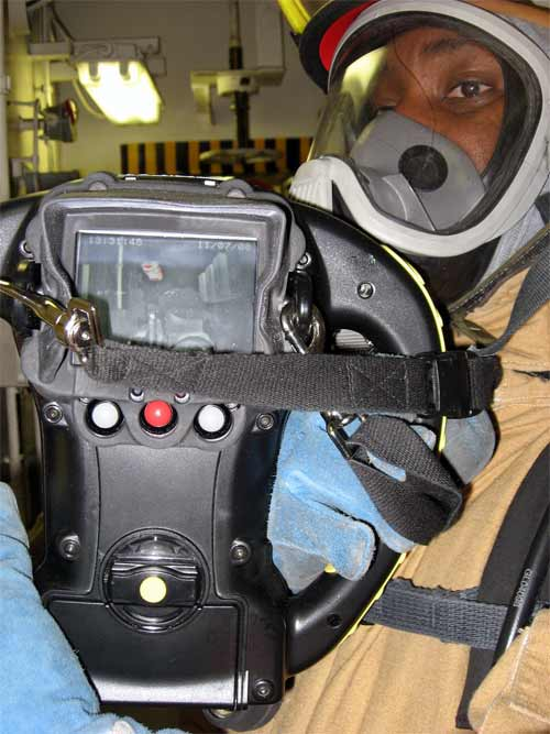 Using the thermal imaging camera helps the crew members know more about the intensity of the fire.