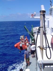 Buoy alongside the ship
