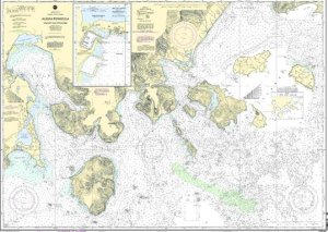 Nautical chart showing the Cold Bay area