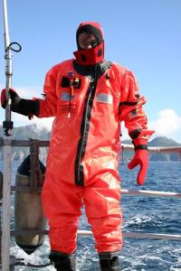 In the survival suit