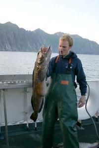 Matt Boles, survey tech, lands the big fish of the day