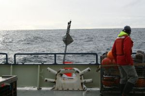 Sediment Trap Buoy along side the Knorr