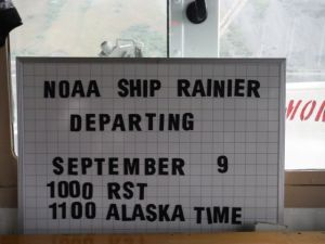 We  are scheduled to leave Kodiak at 1000 Hrs, RST