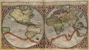 Mercator solved the challenge of projecting a round earth onto a flat surface http://upload.wikimedia.org/wikipedia/commons/5/58/Mercator_World_Map.jpg