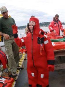 Kim Pratt in her survival suit