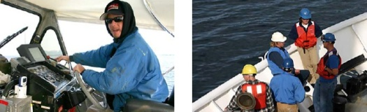 Left: Correy Muzzey drives a launch, Right: Getting ready to set anchor