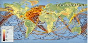 Take a look at this map of the major world shipping routes.  See how many pass near SW Alaska.