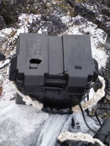 The waterproof battery boxes were broken in the tumble.