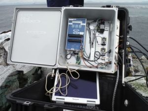 This is the data logger for the tide gauge.  It is housed in a watertight box and was retrieved for downloading on the ship.