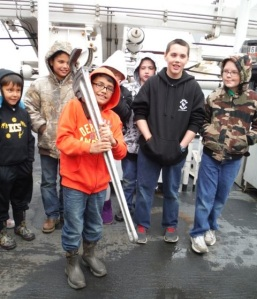 Cold Bay students check out some of the ship's BIG tools.