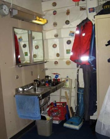 With the permission of the room mates here is a corner of a crew room, quite large.