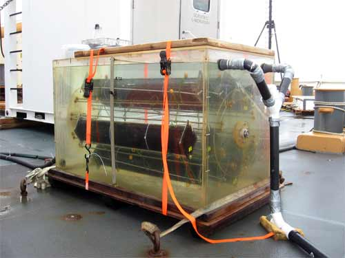 This machine is one of five different incubators aboard, fresh sea water is constantly run through so that the temperature stays constant for a krill environment.