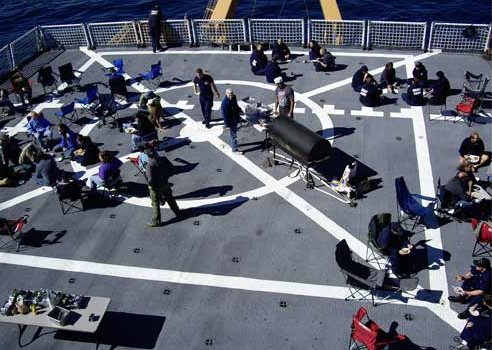 The flight deck without a helicopter is perfect for social functions.