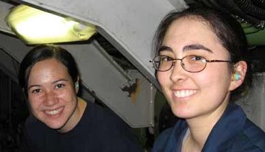 Meet 1C Jennifer Peterson a senior at the Coast Guard Academy and MK3 Betty Brown, always smiling these two are.