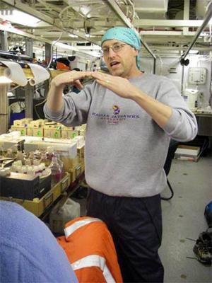 Dr. Cal Mordy figures out what nutrients are in the water samples pulled from the Bering Sea.
