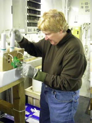 Nancy Kachel collected many samples from the CTD during this research mission.