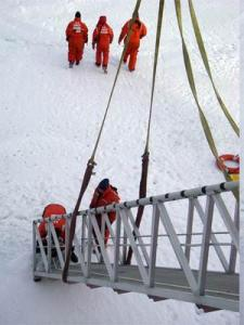 Ice samples were brought back onboard the Healy by attaching a rope and dragging them up the ramp.