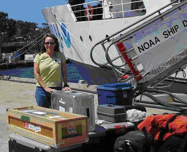 I took a quick break after unloading the van to pose for a picture.  I'm standing beside NOAA Ship David Starr Jordan and the real work is now beginning.  Better get busy – more to come later.  Keep checking the website.