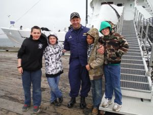 Cdr Rick Brennan and some of the hydrographers of the future in Cold Bay, Alaska