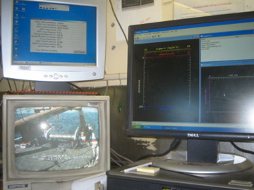 Computers and cameras recording information from the CTD