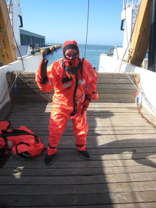 The survival suit that is suppose to keep you warm in the Pacific if you have to abandon ship.