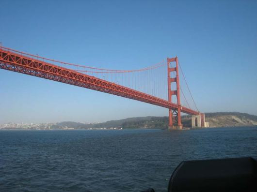 Under the Golden Gate Bridge and out to sea