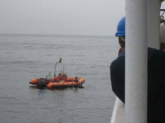 Divers over the side to check the propeller and sonar.