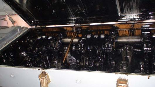 Starboard Engine with one valve cover removed