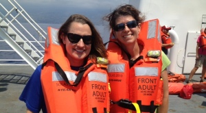 Bunkmate and scientist, Beth Lumsden, and I during an abandon ship drill on the Texas deck.