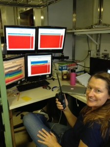 Monitoring the acoustics station during our trawl operations.